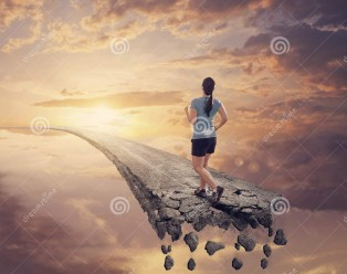 running-broken-road-woman-runs-along-falling-apart-55830479